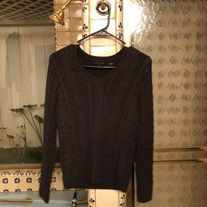 Jeanne Pierre | Navy Knit Crochet V Neck Sweater
